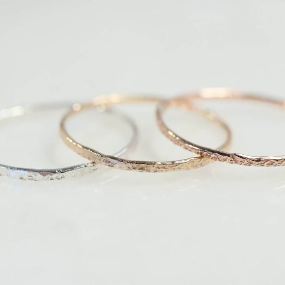 thin band stackers silver, gold, pink gold