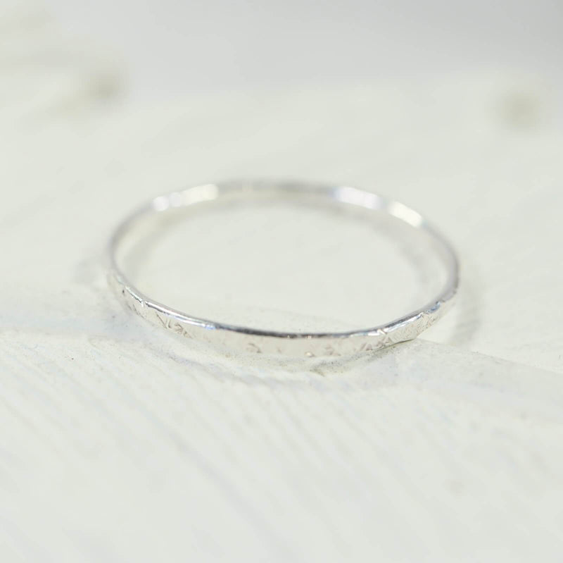 thin band stacking ring silver