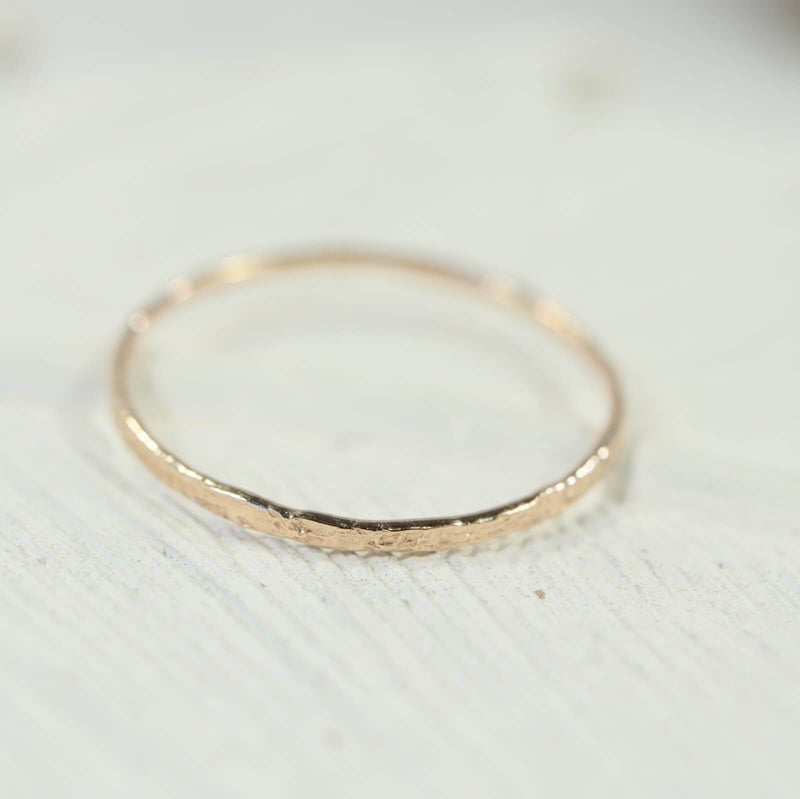thin band stacking rings gold