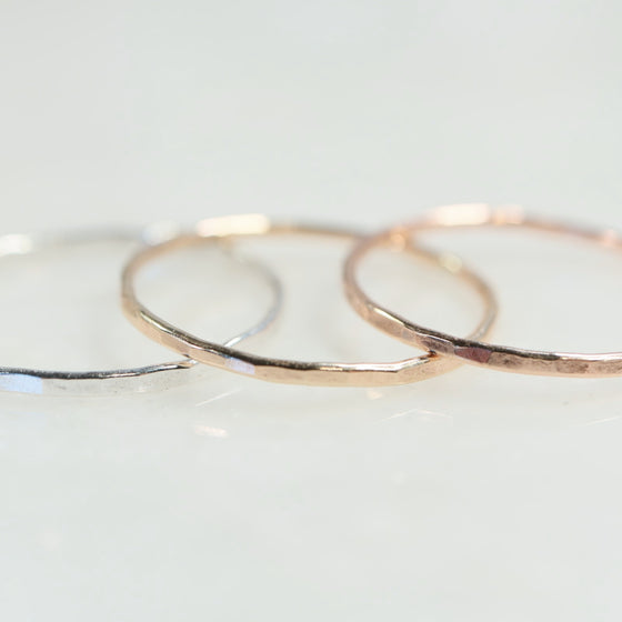 hammered thin band stacking rings silver, gold, pink gold