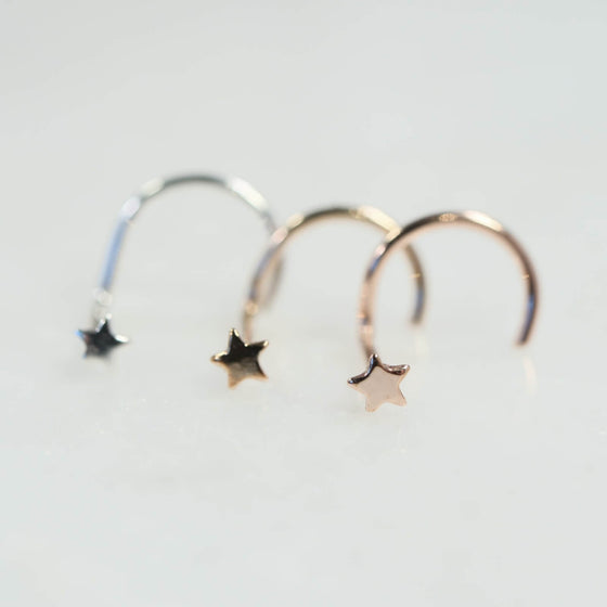 Teeny tiny star nose stud in silver, gold and pink gold