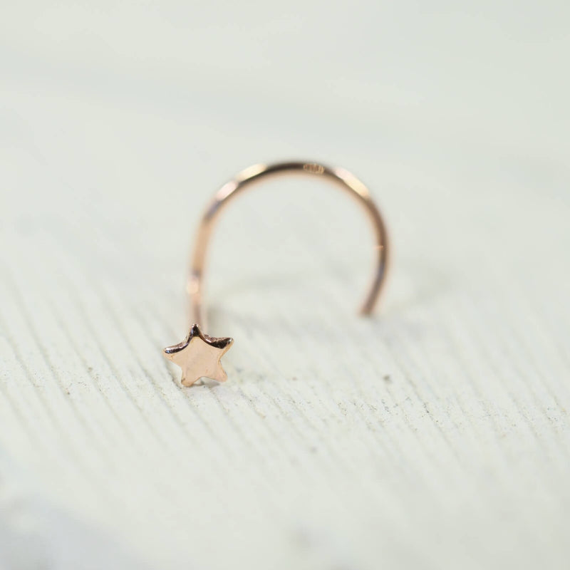 pink gold star nose stud