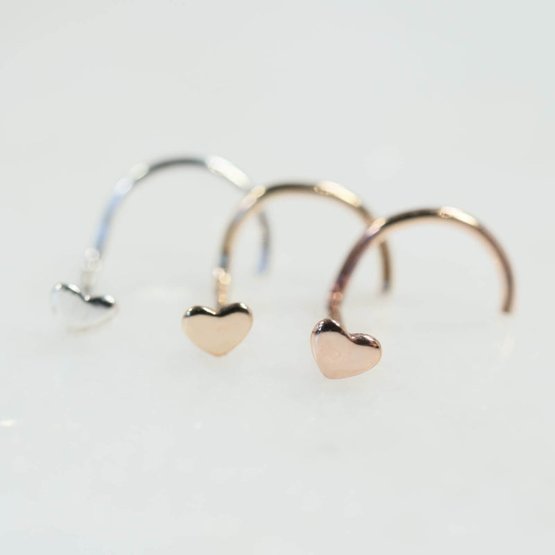 Heart nose stud in silver, gold and pink gold