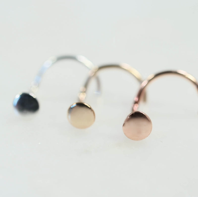 dot nose stud 4mm in silver, gold and pink gold