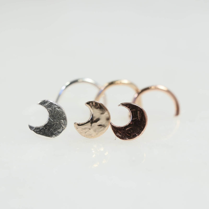 hammered eclipse moon nose stud in silver, gold and pink gold