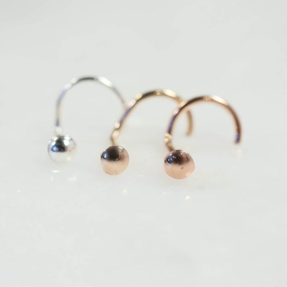 domed nose stud silver, gold and pink gold