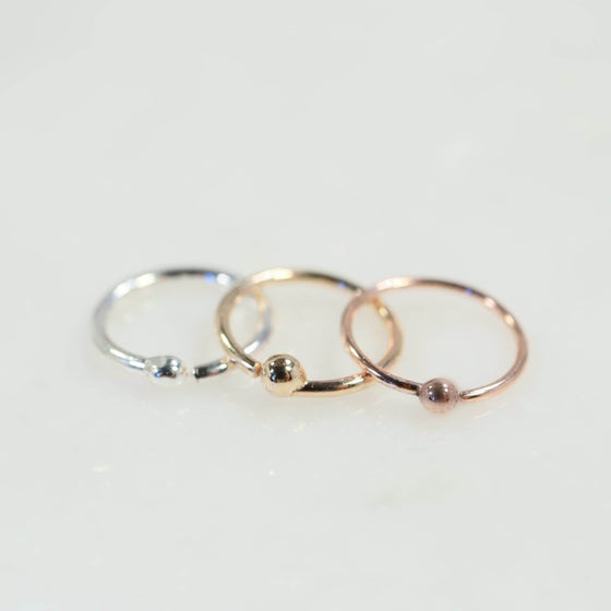 Ball nose ring in silver, gold and pink gold