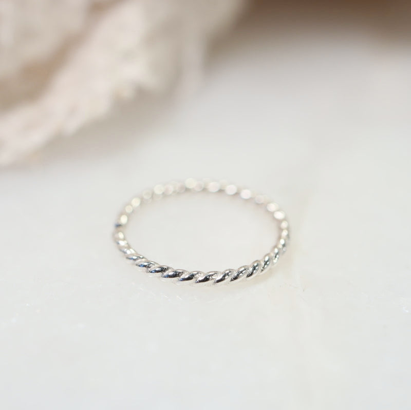 tiny endless hoop dot twist silver