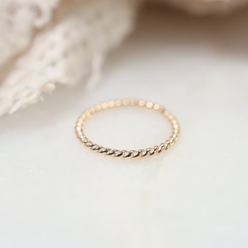 tiny endless hoop dot twist gold