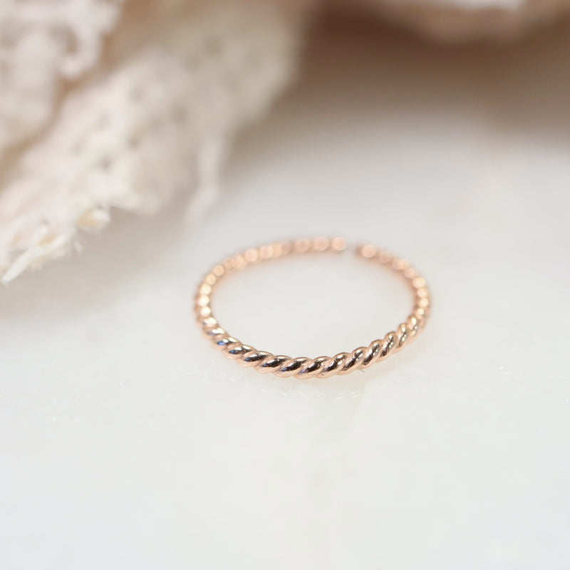 tiny endless hoop dot twist pink gold