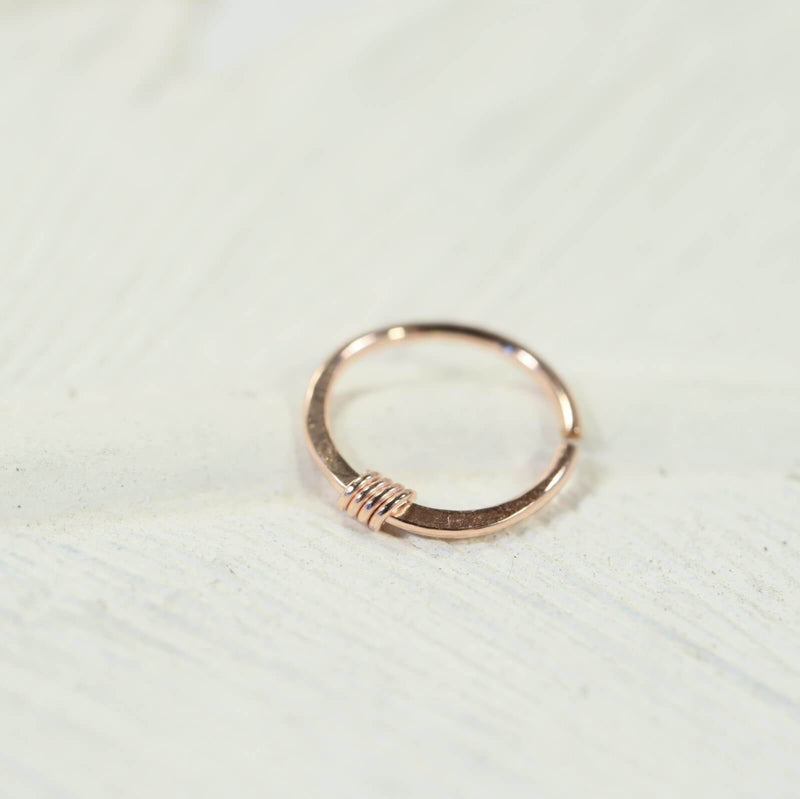 pink gold hammered & wrapped nose ring