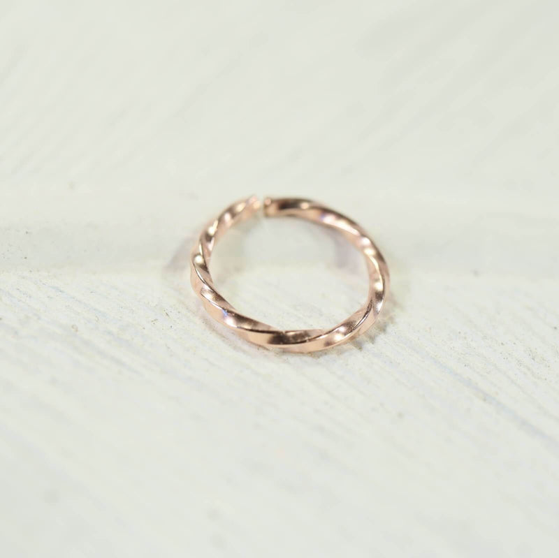 pink gold twist nose ring