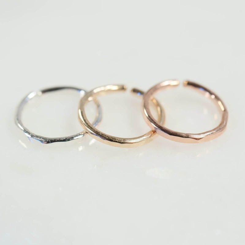 Face hammered nose ring in silver, gold and pink gold