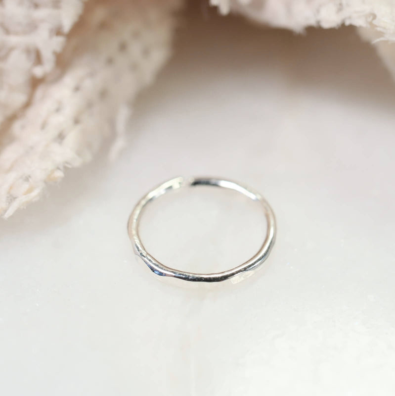 silver face hammered nose ring