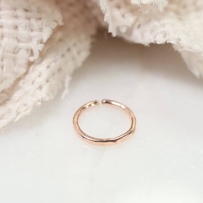 pink gold face hammered nose ring
