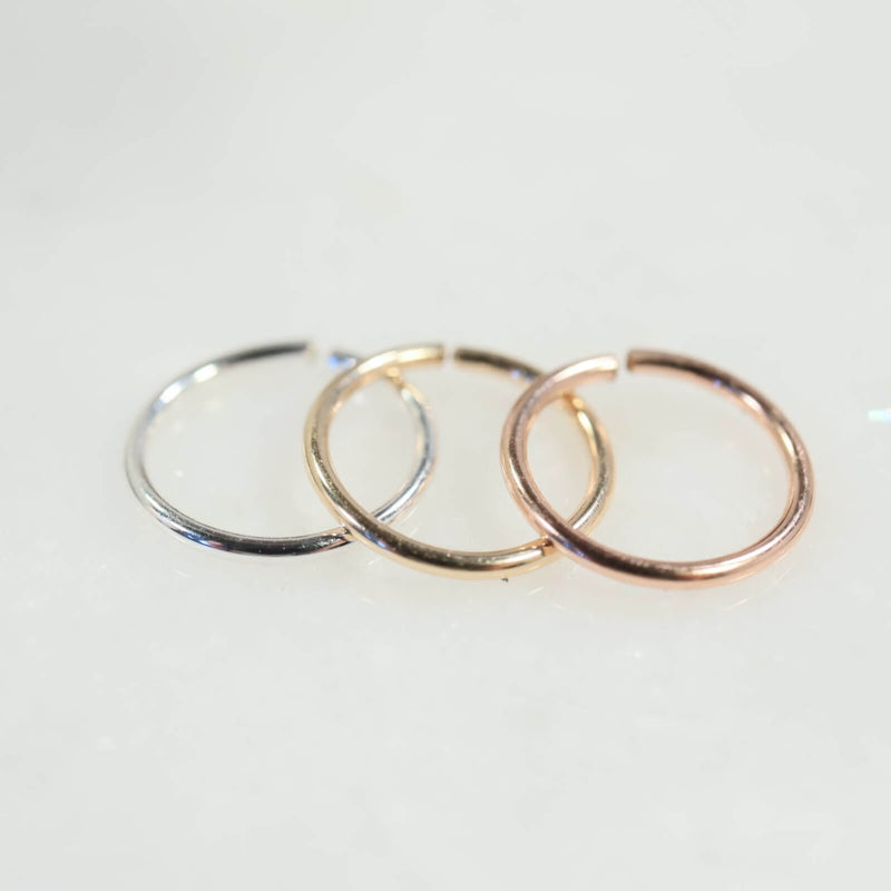 endless nose ring in silver gold and pink gold