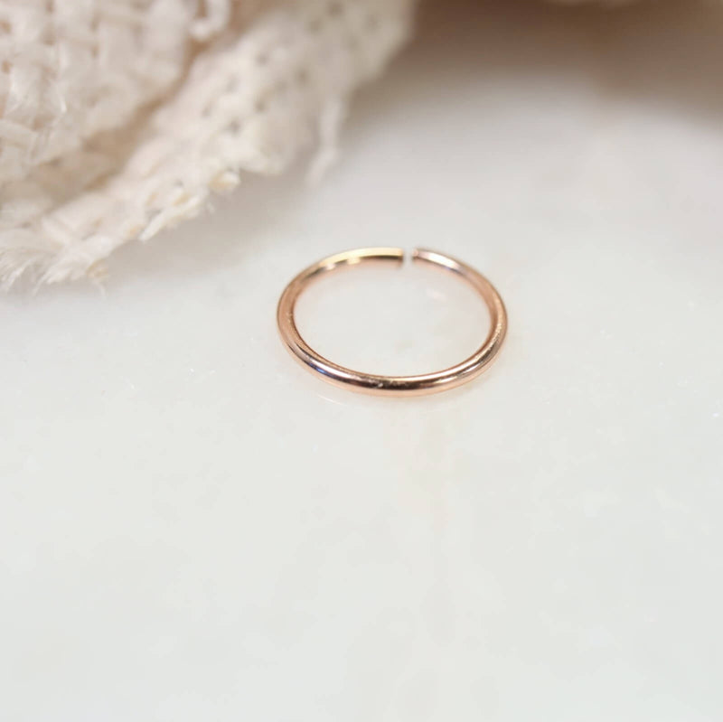 plain endless nose ring in pink gold