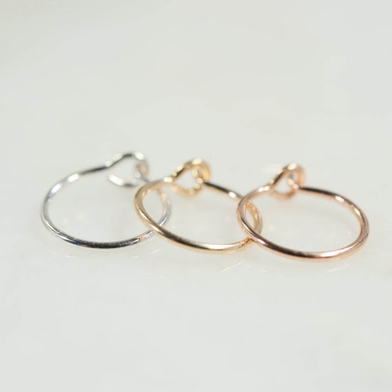 Plain hook nose rings in silver, gold and pink gold