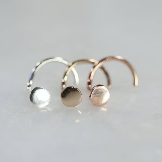 3mm dot nose stud in silver, gold and pink gold