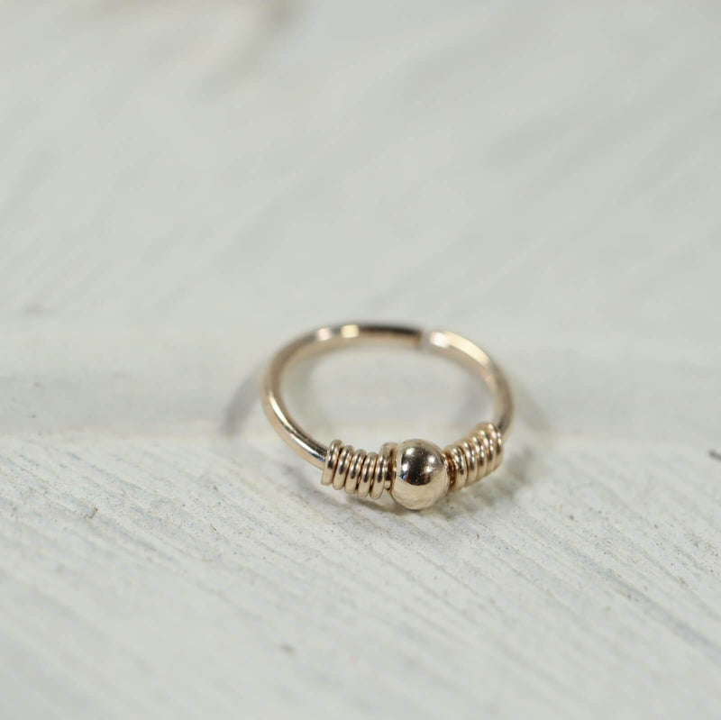 gold wrapped ball nose ring