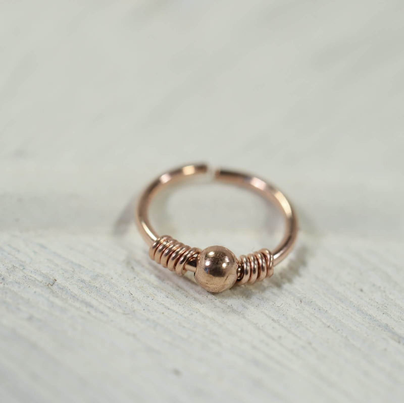 pink gold wrapped ball nose ring