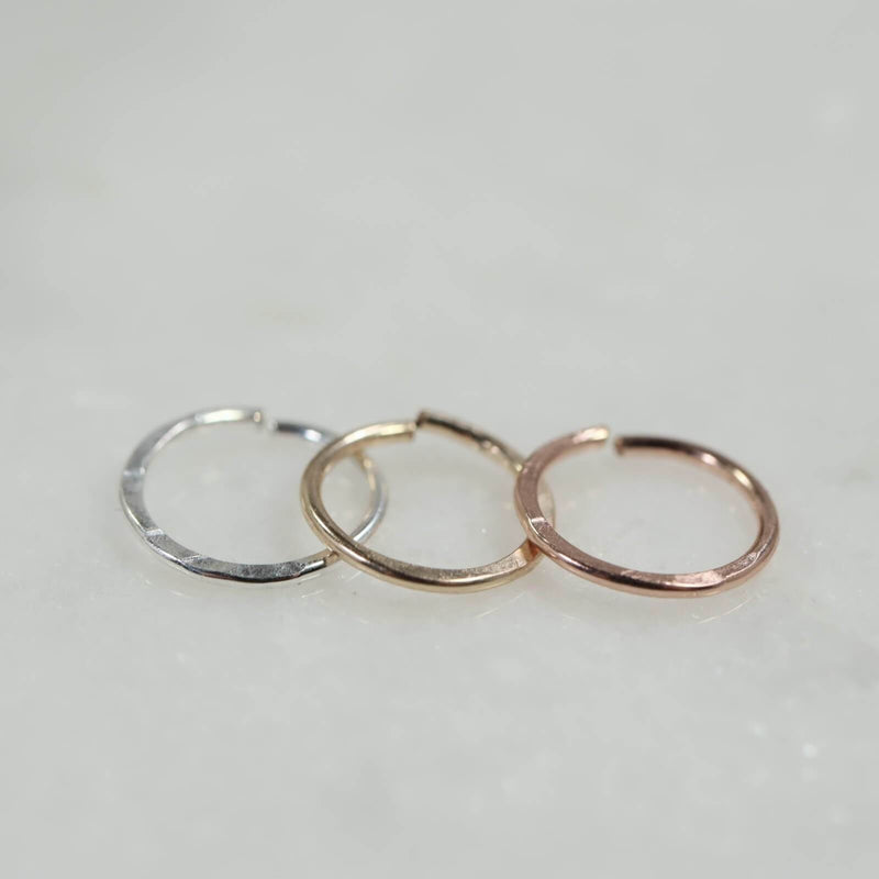 hammered nose ring in silver, gold and pink gold