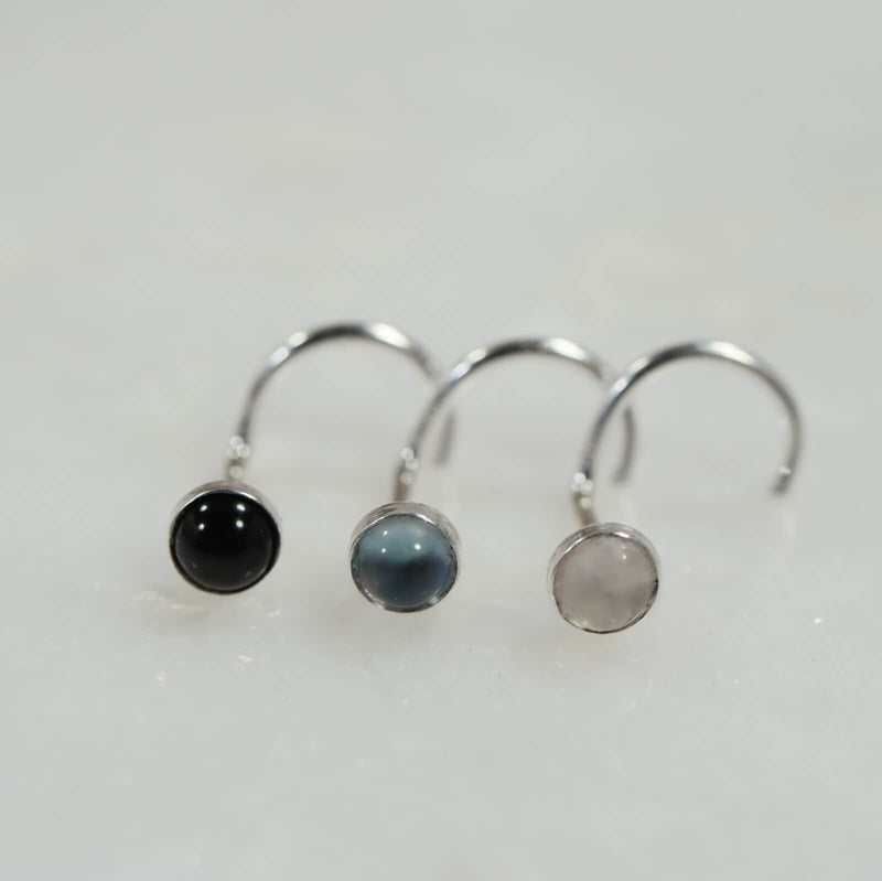 gemstone nose stud onyx, blue topaz and moonstone