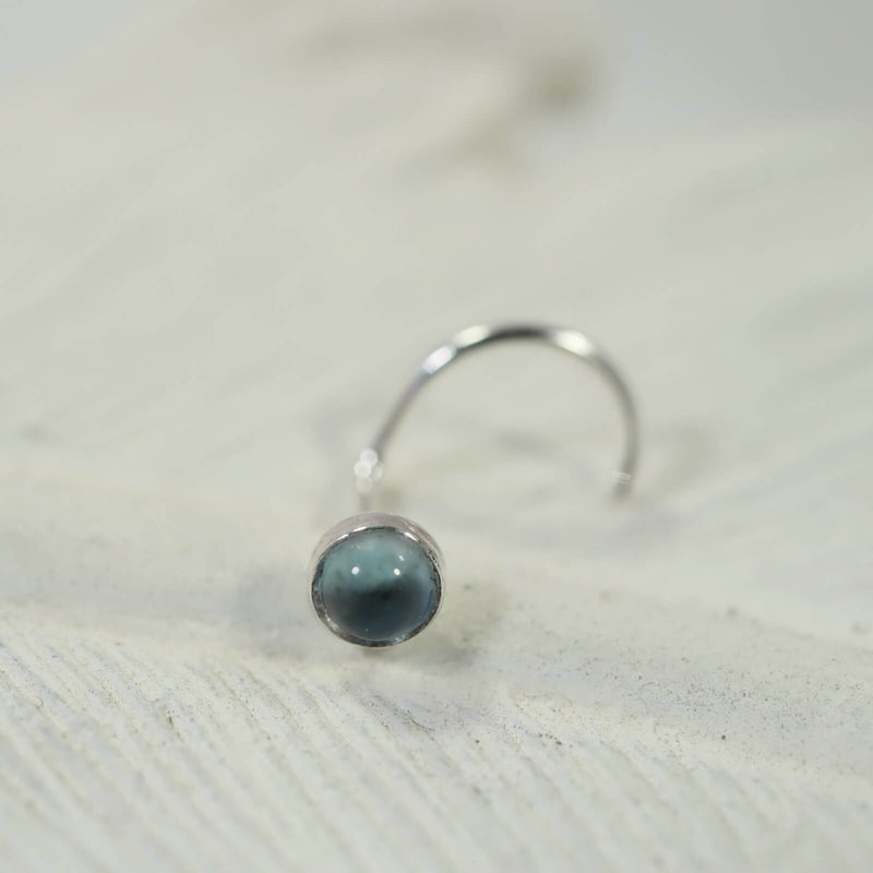 blue topaz nose stud 3mm