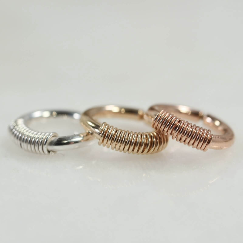 16 gauge wrapped endless hoop silver, gold, pink gold