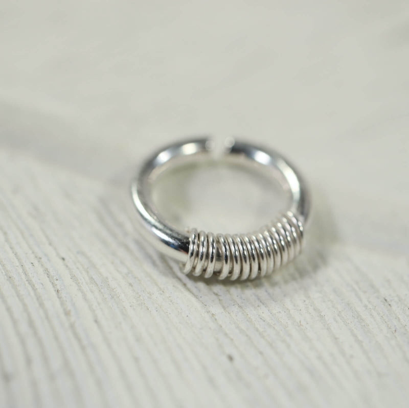wrapped septum ring silver