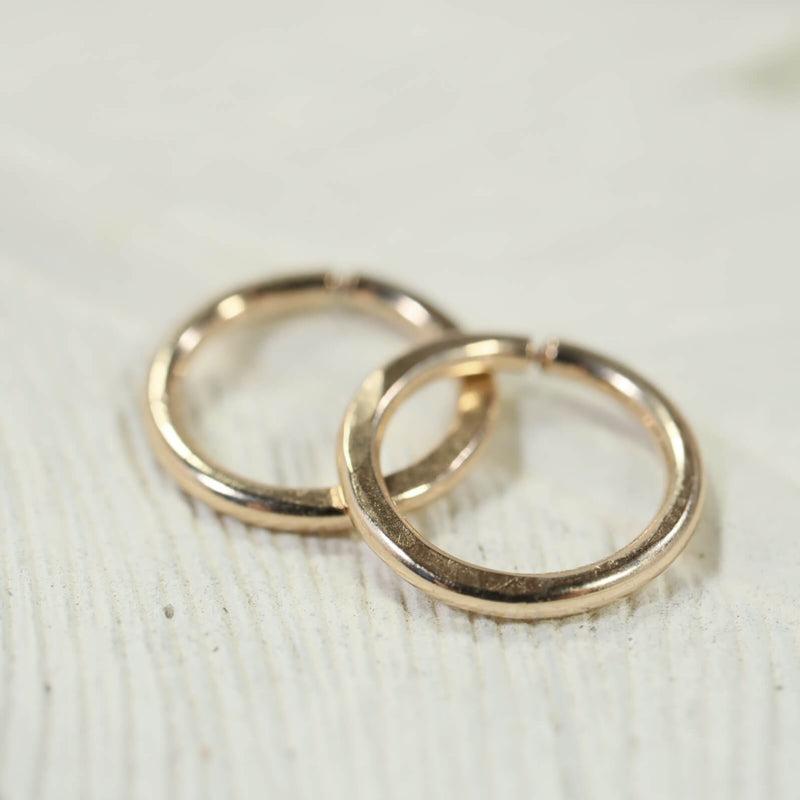14 gauge hammered hoop earrings gold