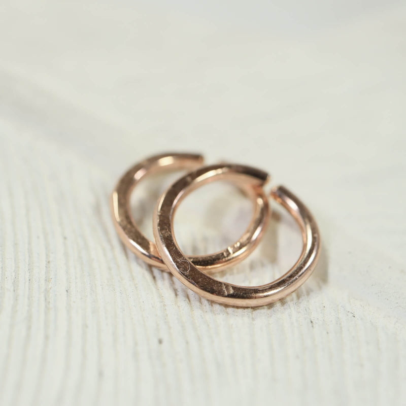 14 gauge hammered hoop earrings pink gold