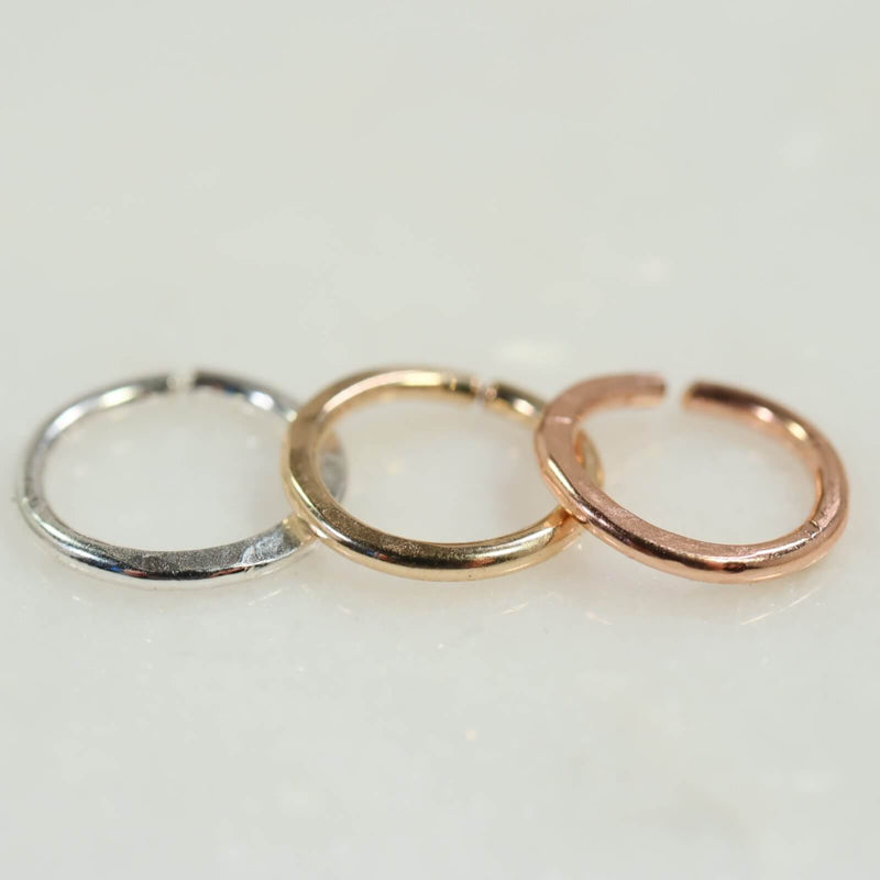 hammered septum ring silver, gold, pink gold