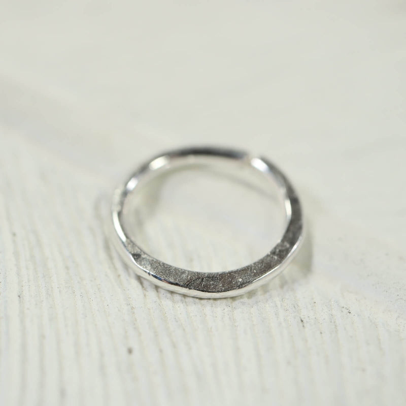 hammered septum ring silver
