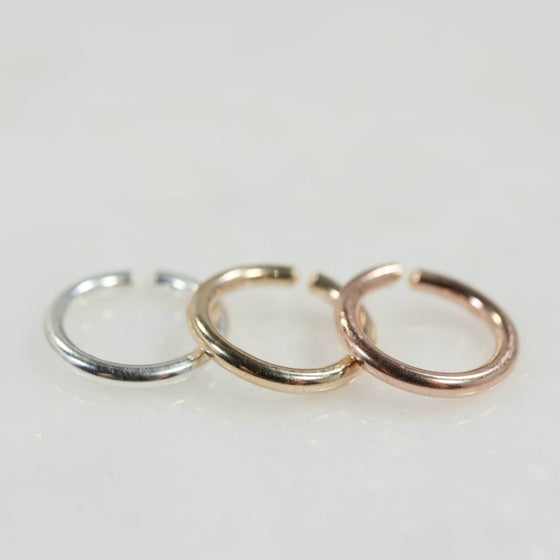 14 gauge single hoop earring endless silver, gold, pink gold