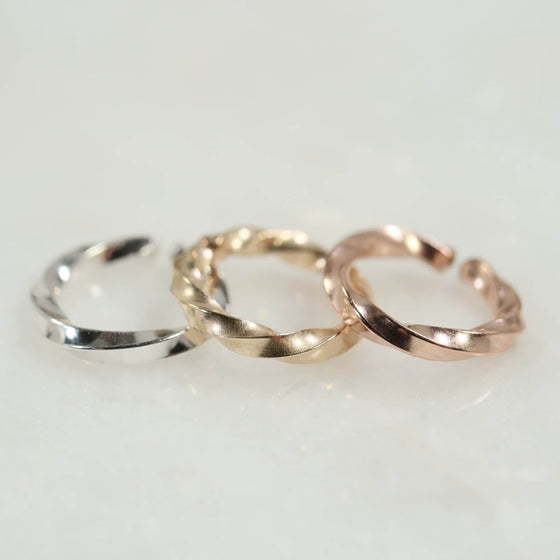 twist septum ring silver, gold, pink gold