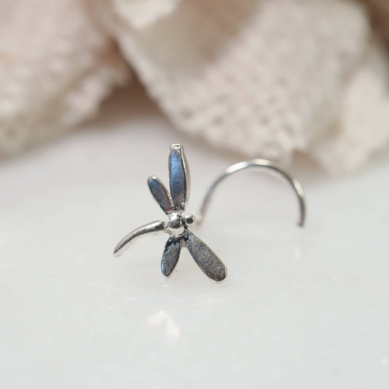 silver dragonfly nose stud