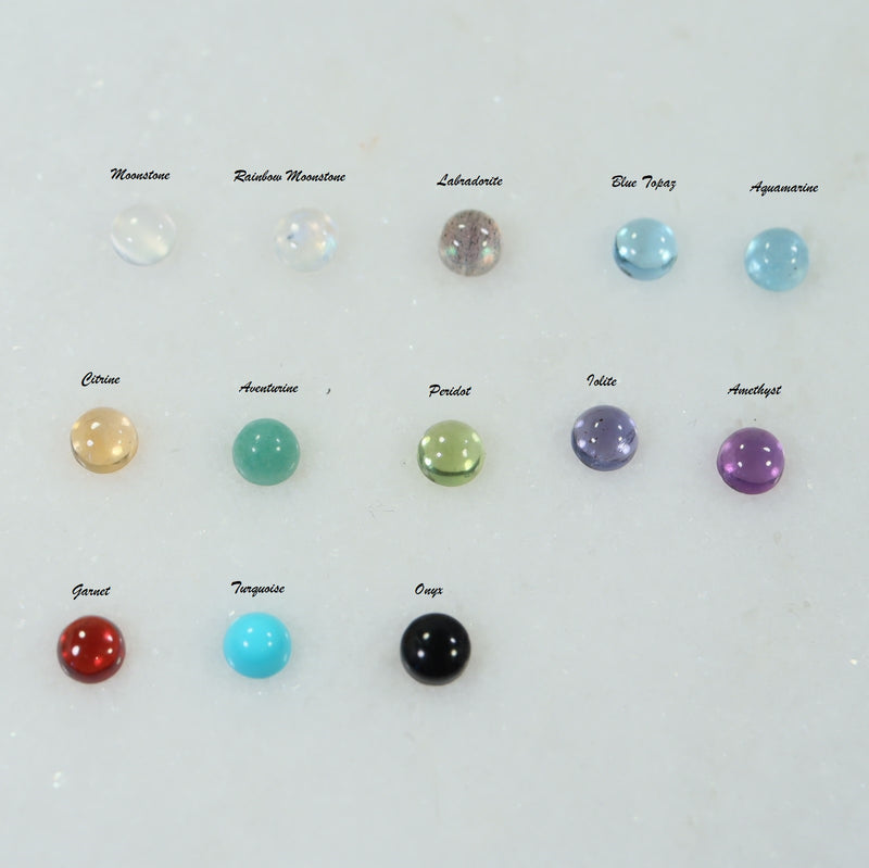 gemstone color selections 4mm stud earrings silver