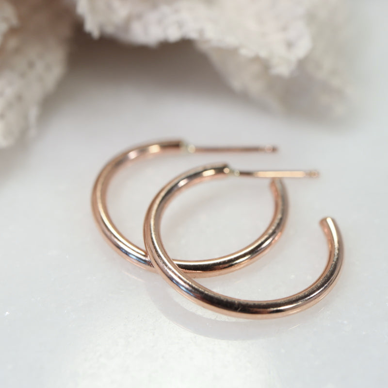 Post Hoop Earrings Plain 3/4 Inch Your Choice Of Metals Precious & Semi Precious