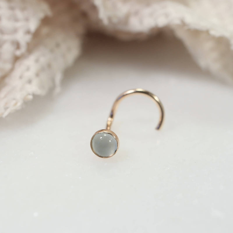 aquamarine nose stud 3mm gold
