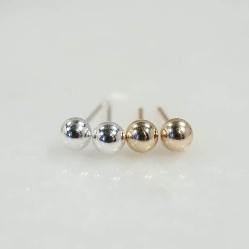 ball stud earrings silver and gold