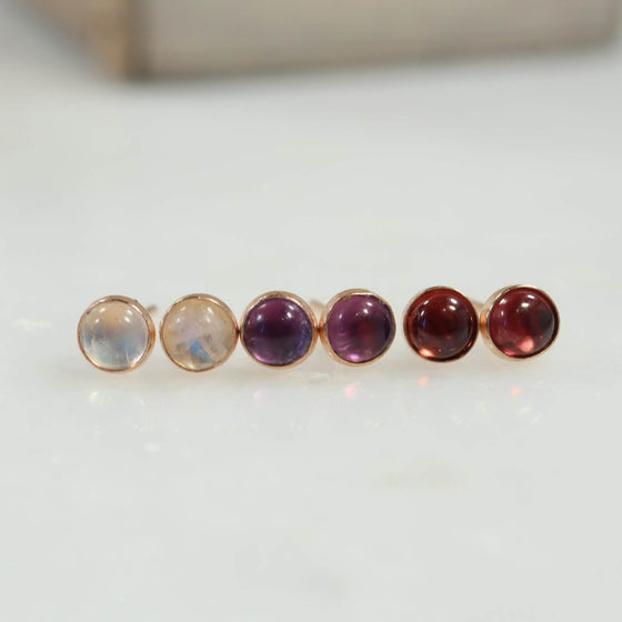 gemstone stud earrings 4mm rainbow moonstone amethyst garnet