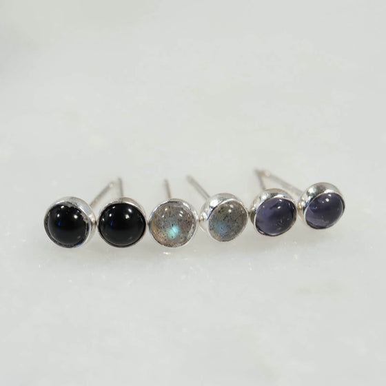 gemstone stud earrings silver 4mm onyx labradorite iolite