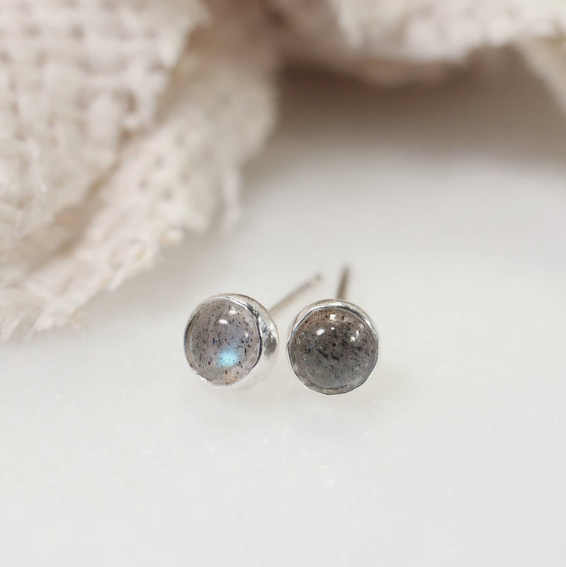 labradorite stud earrings silver 4mm