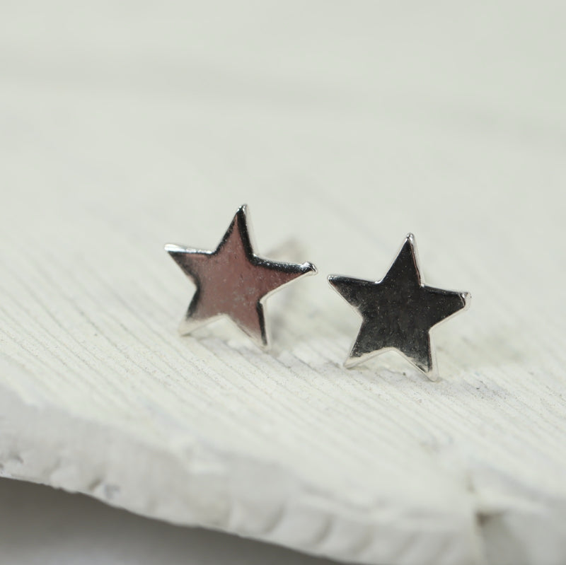 star post earrings in silver