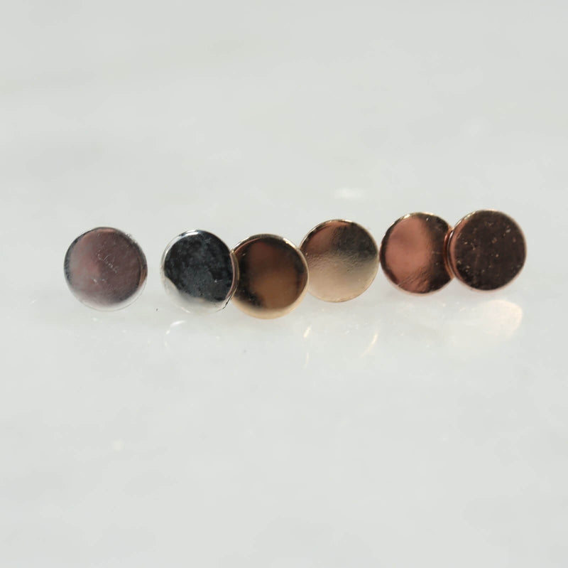 plain dot stud earrings 6mm silver, gold and pink gold