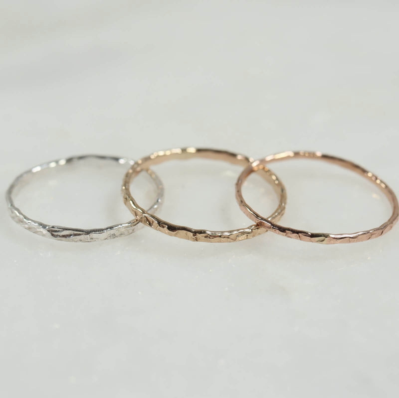 chiseled thin band stacking rings silver, gold, pink gold
