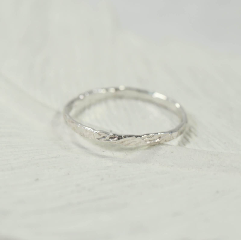 chiseled thin band stacking rings silver