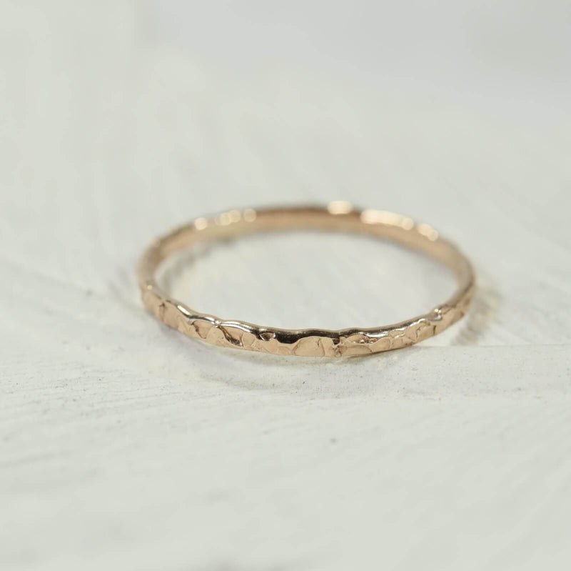 chiseled thin band stacking rings gold