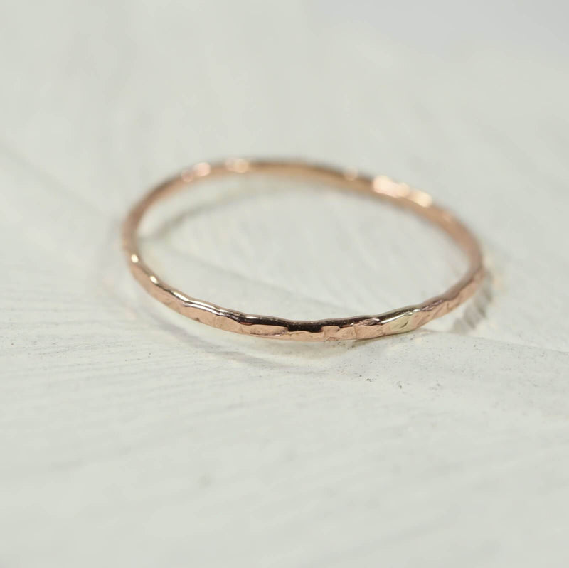 chiseled thin band stacking rings pink gold